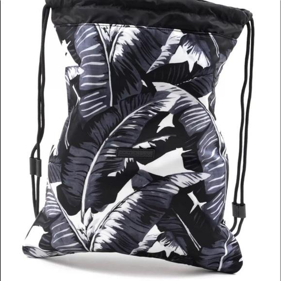 Black Dolce /& Gabbana Palm Print Drawstring Backpack Bag Navy